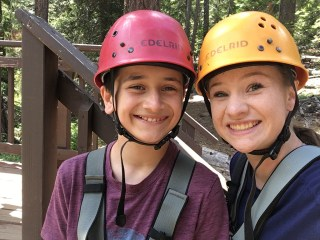 Carter and Natalie Bourn In The Ropes Course and Zipline Harnesses and Helmets