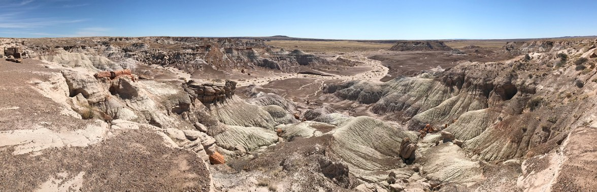 A Panorama Of The Painted Desert Badlands