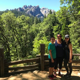 Jennifer Bourn and Kids at the Castle Crags Scenic Overlook