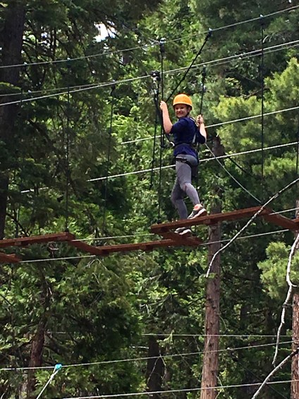 Natalie Bourn Testing Out The Ropes Course at Granlibakken in Tahoe City