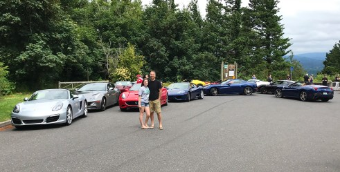 Ferrari Club Stop at the Portland Women's Forum State Scenic Overlook in Oregon