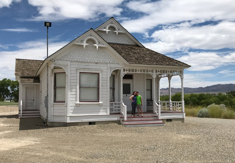 Natalie and Carter Bourn entering the old homestead at the Humbolt County Museum