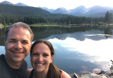 Brian and Jennifer Bourn at Sprague Lake in Rocky Mountain National Park