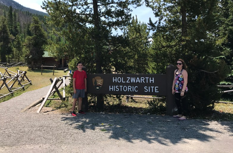 Carter and Natalie Bourn at the Holzwarth Historic Site Sign