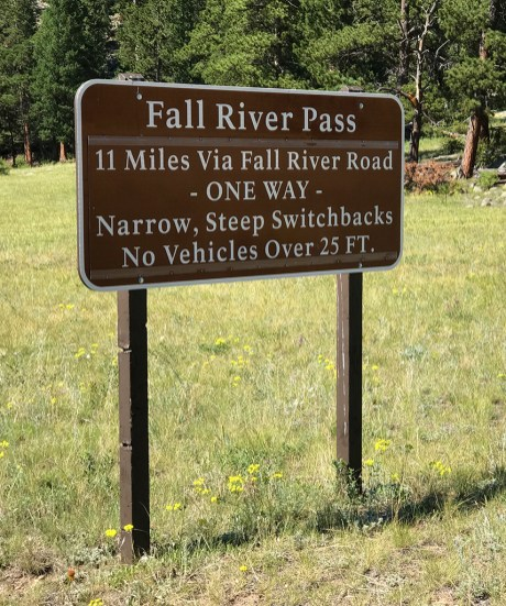Fall River Pass Sign in Rocky Mountain National Park