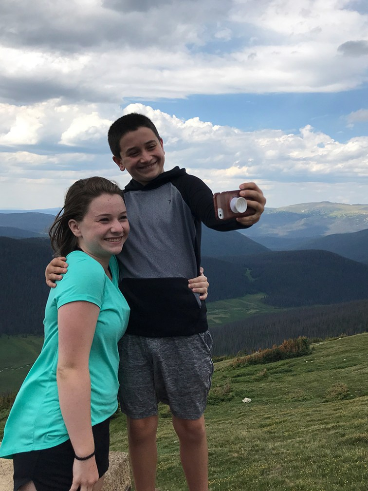 Natalie and Carter Bourn Taking a Selfie At the Medicine Bow Curve Scenic Overlook