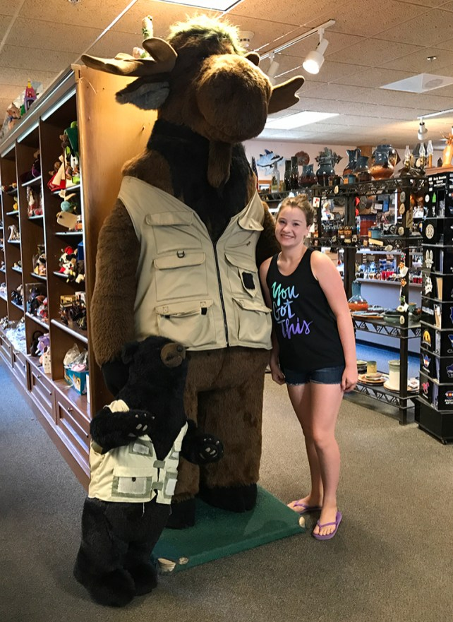 Natalie with a Giant Stuffed Moose