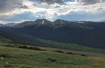 View of The Never Summer Mountains From the Medicine Bow Curve Overlook in a Thunderstorm