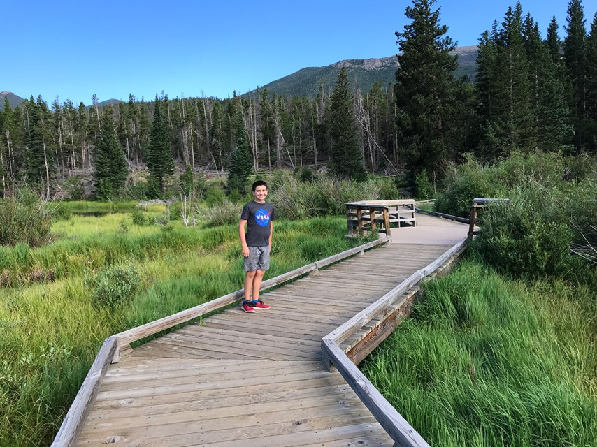 Carter Bourn on the Sprague Lake Trail in Rocky Mountain National Park