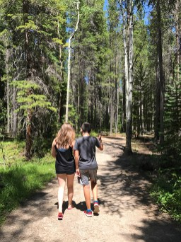 Natalie and Carter on the Wild Basin Trail in Rocky Mountain National Park