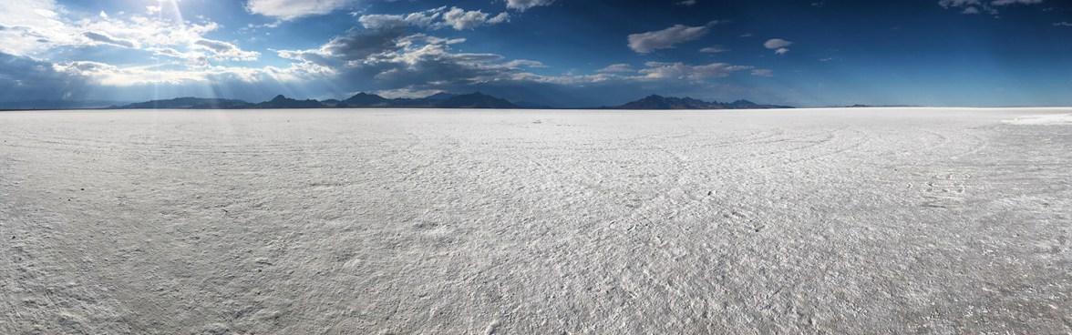 Panorama Of The Bonneville Salt Flats In Utah