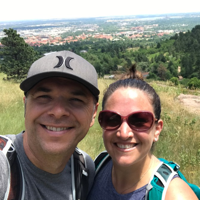 Brian and Jennifer Bourn Hiking The Boulder Flatirons