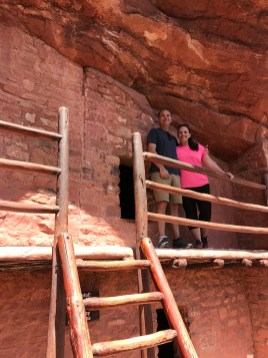 Brian and Jennifer Bourn exploring the second story of the cliff dwellings