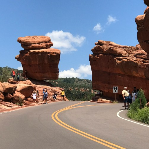 Road Through Garden Of The Gods By Balanced Rock