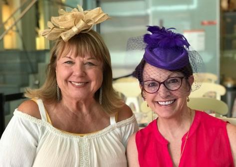 June Bourn and Linda Brannan in their Tea Hats