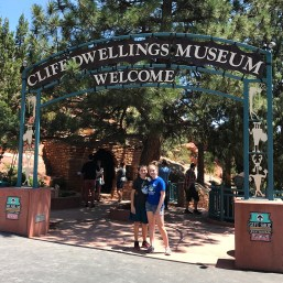 Natalie and Carter Bourn at the CLiff Dwellings Museum Entrance