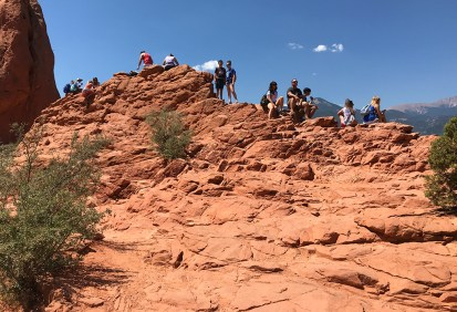 Climbing for a better view of Colorado Springs