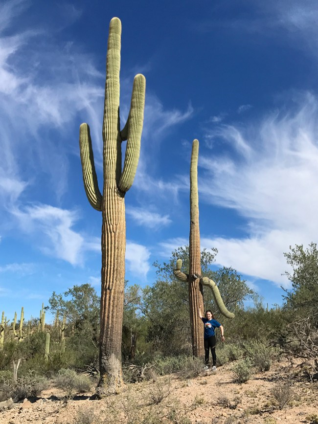 Natalie Bourn Standing With a Giant Saguaro