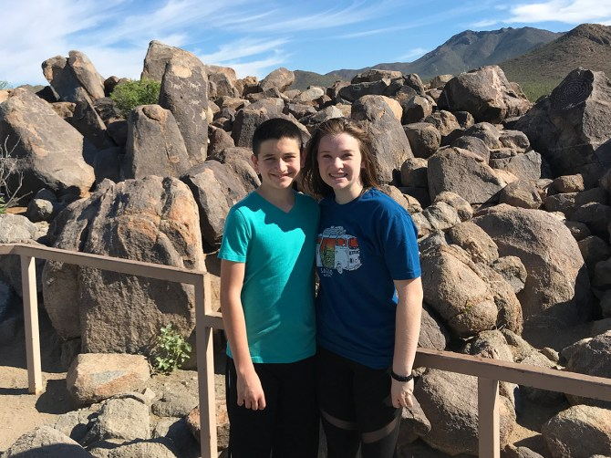 Natalie and Carter Bourn at the Signal Hill Petroglyph Viewing Area