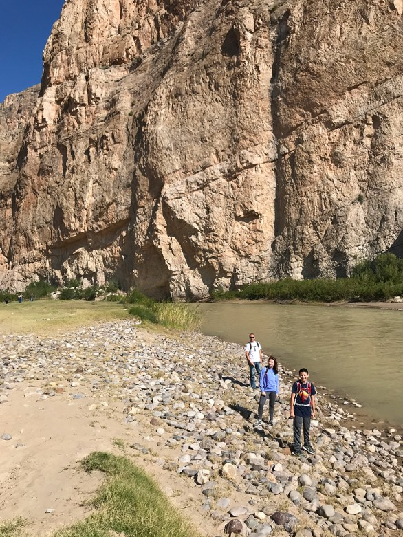 Brian, Natalie, and Carter Bourn at the Rio Grande in Boquillas Canyon