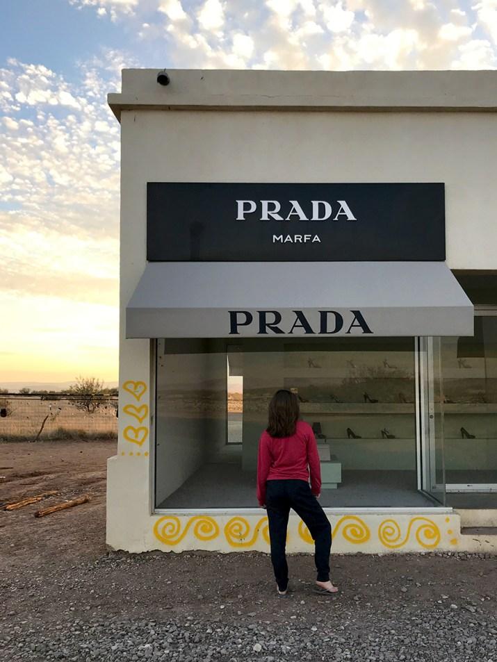 Standing Outside Prada Marfa in West Texas