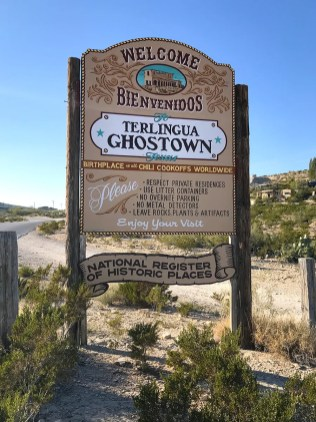 Welcome Sign for Terlingua Ghost Town in Texas