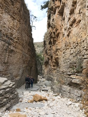 Brian, Natalie, and Carter Bourn in the Devil's Hall in Guadalupe Mountains National Park