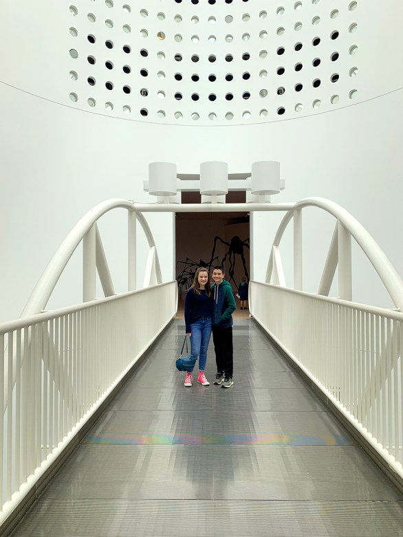 Natalie and Carter standing on the Occulus Bridge at the SF MOMA