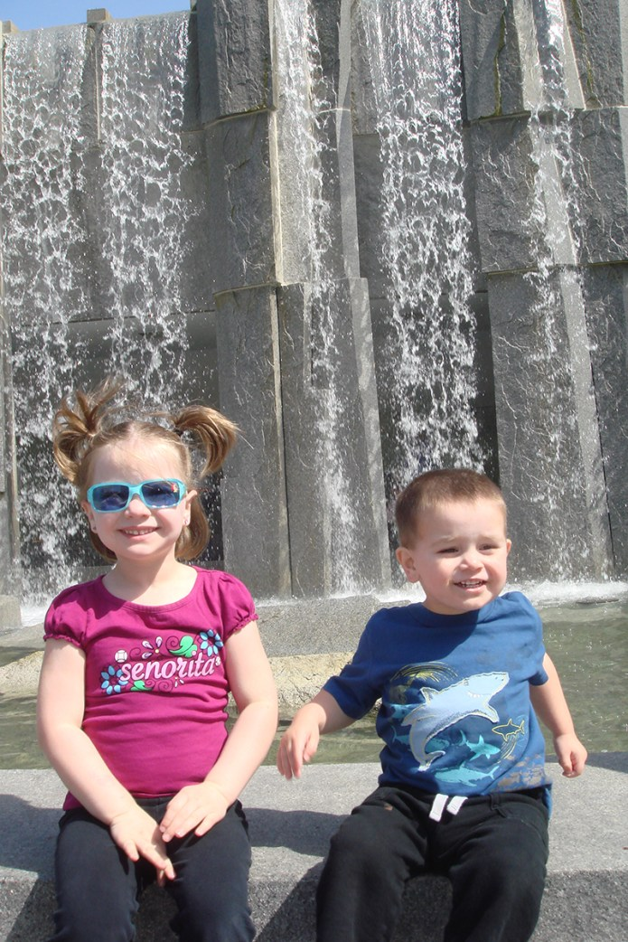 Natalie and Carter Bourn at the Martin Luther King Jr. Fountain in San Francisco in 2008