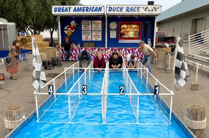 Attendees Lined Up For Duck Racing at The Sacramento County Fair