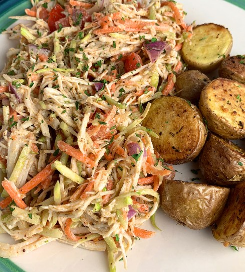 Broccoli and Carrot Slaw Chicken Salad