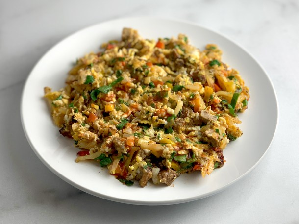 Veggie and Turkey Sausage Scramble