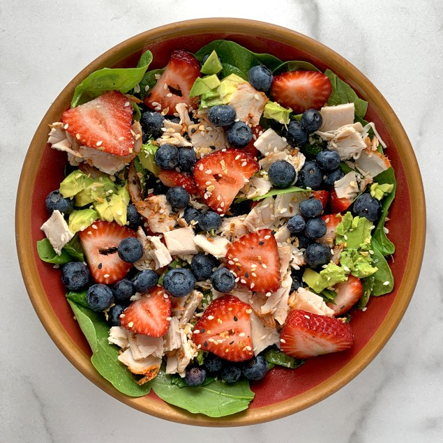 Turkey, Strawberry, Blueberry, Avocado Spinach Salad