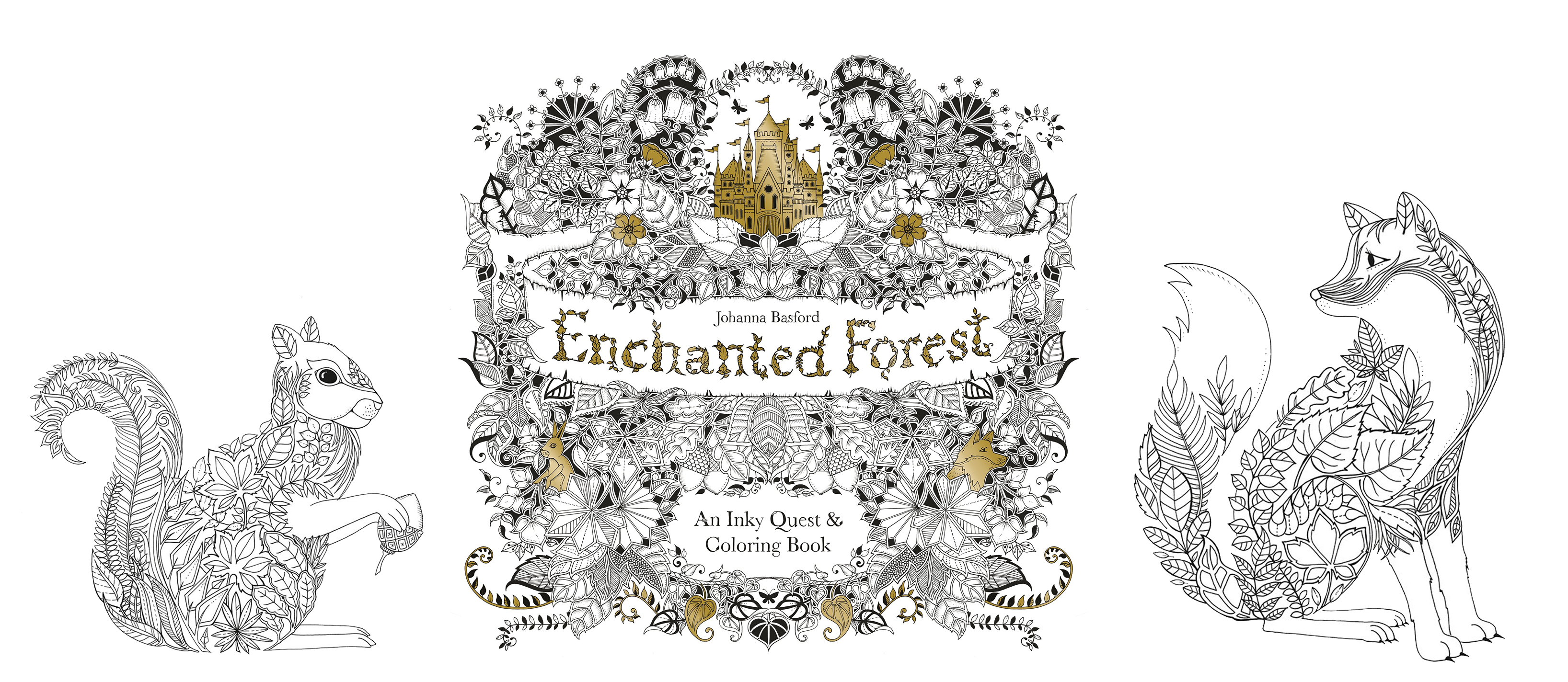 Enchanted Forest Johanna Basford Inky Quest Adult Colouring Book
