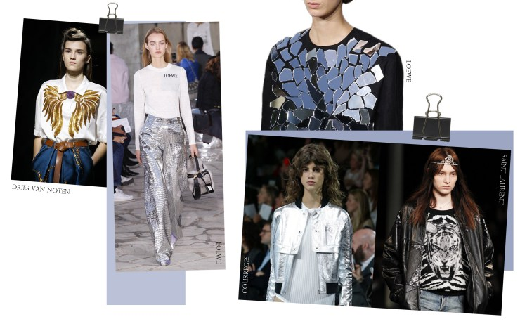 rock-chic spring summer 2016 Rock Chic Metallics Loewe Dries Van Noten Saint Laurent Courreges