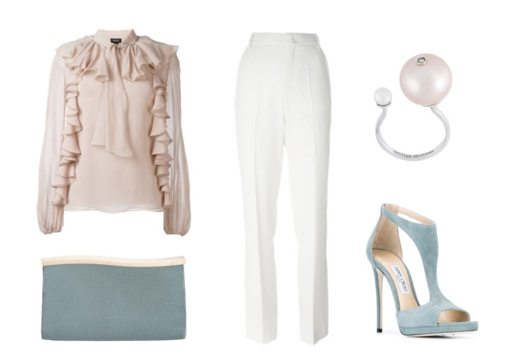 Designer Outfit Grid Farfetch Shopping Wedding Guest Style Chloe Giambattista Jimmy Choo Valextra