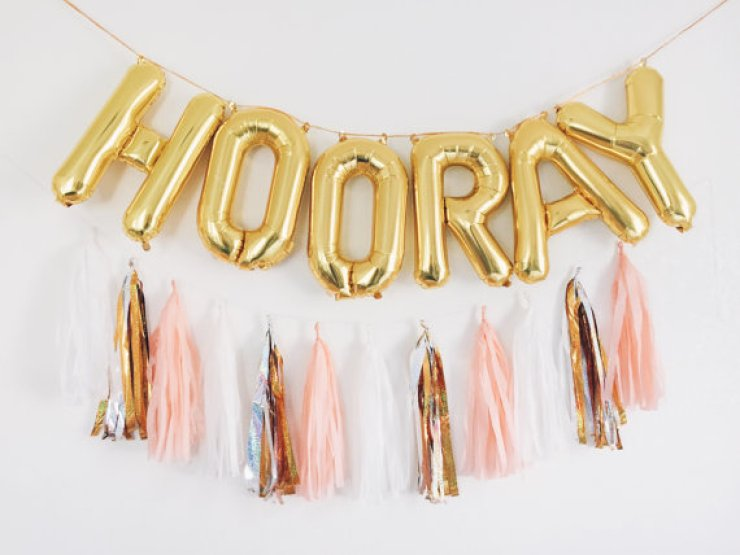 Mood Lifters Balloons Hooray Gold Happy