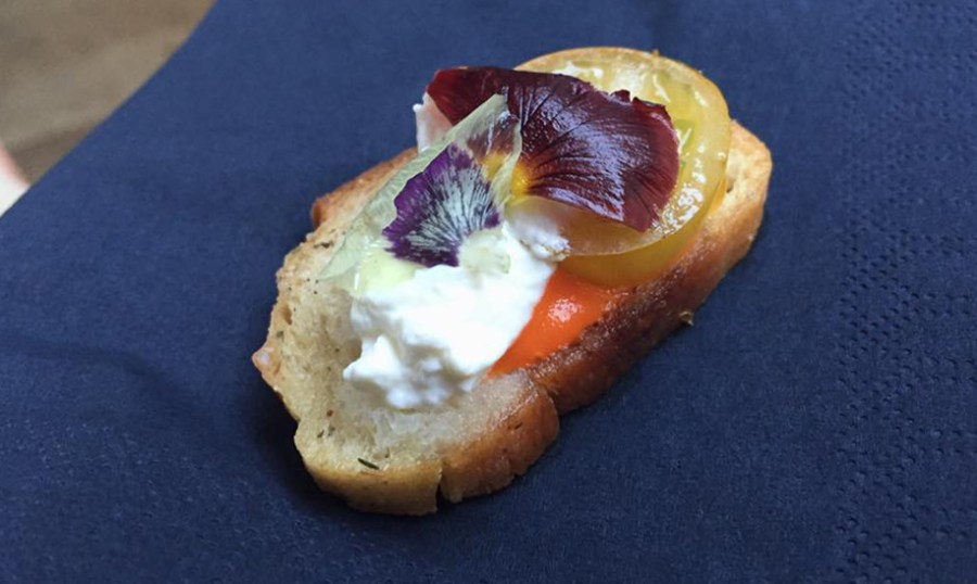 Aubaine Canape Edible Flowers French Food Summer En Provence Restaurant Marylebone