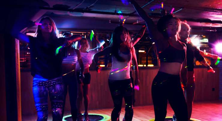 Gymbox Gym Review Rave Class London Covent Garden Rave Class Neon Dance Glowsticks
