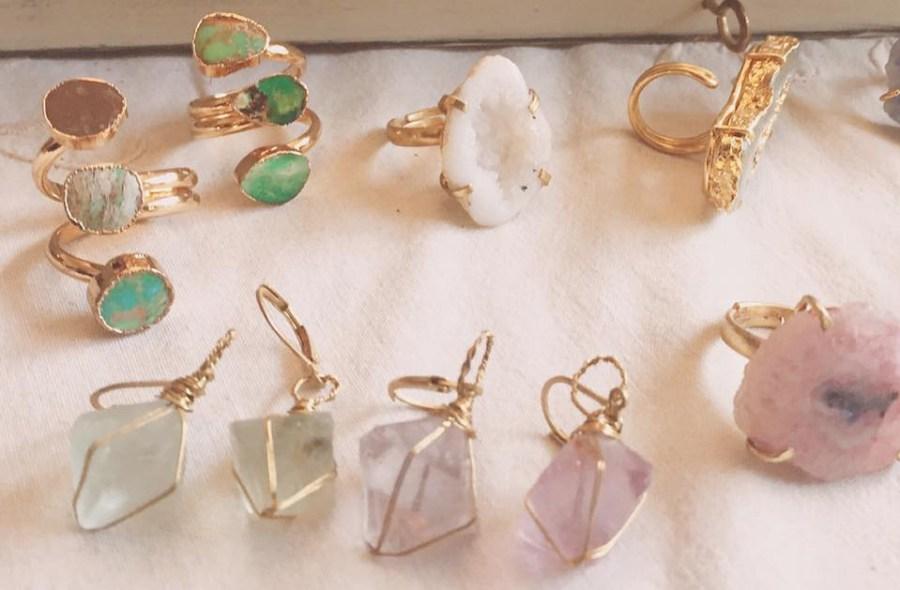 Zara Taylor Jewellery Rings Pastel Gem Stones Colour Vintage
