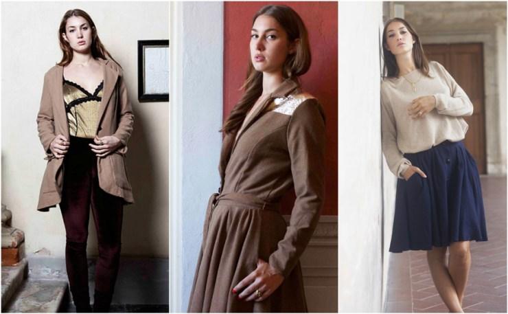 A-MM-E Fashion Design Velvet Silk Coat Camel Navy Skirt Collection Interview Emma