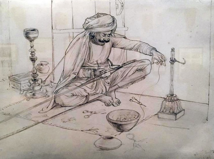 Arts Crafts Punjab London V&A Sketch Drawing