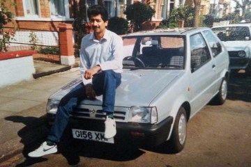 Fathers Day 2017 Dad Car Vintage Old Photo 1980 Wimbledon London Blue