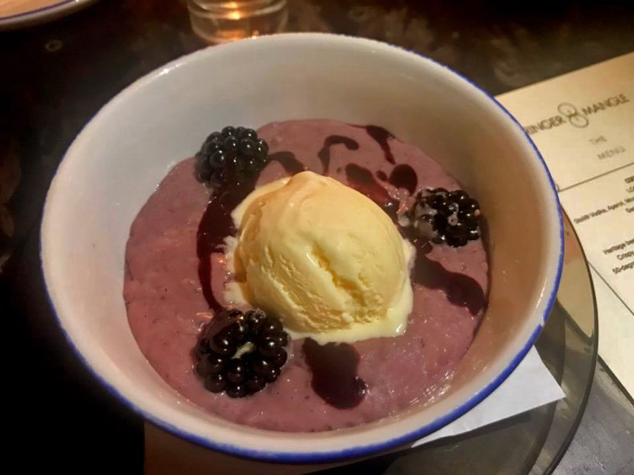 Wringer Mangle Press Night Dinner Food Menu Spitalfields Liverpool Street Restaurant Blackberry Rice Pudding