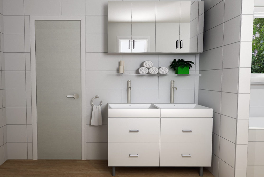 ideal master bath with ikea cabinetry