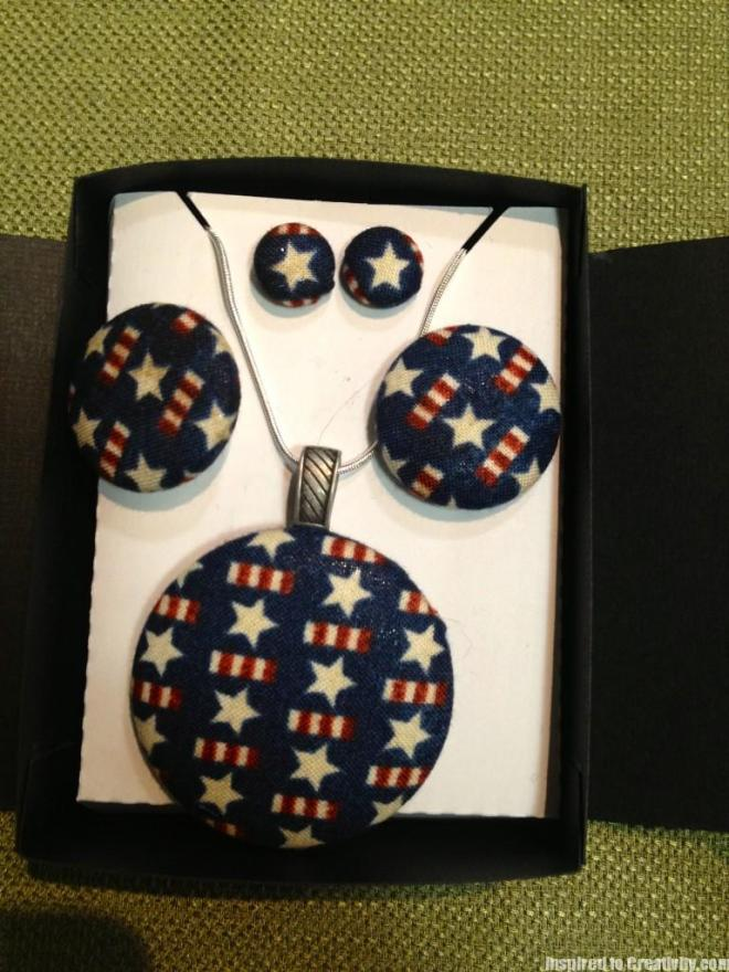 Fabric Button Jewelry: Earrings, Necklace, Ring & Hair Tie