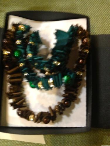 Brown & Emerald Beaded Ribbon Necklaces