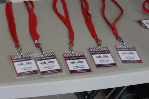 Pit Crew Passes for Race Car Birthday Party