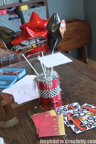 Red & Black Race Car Birthday Centerpiece