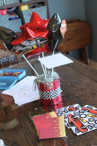 Red & Black Race Car Birthday Centerpiece